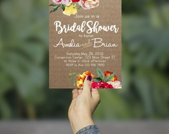 Kraft Paper Floral Invitation