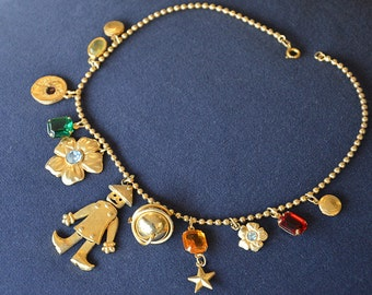 -Moveable charms necklace, vintage 80 's gold metal Pomellato type