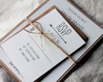 Arrow Wedding Invitations, Modern Rustic Invitation, Understated Rustic Invitations, Wedding Invitation Arrow, Affordable Wedding Invites