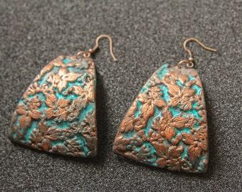 Boho Earrings Turquoise Patina Ethnic earrings Tribal Earrings Blue Patina Earrings Boho Jewelry Bohemian Foliage Earrings JuliaKuro
