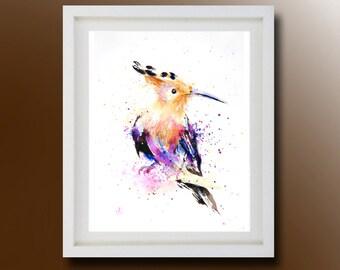 Hoopoe, Original Watercolor Painting, Bird Painting, Color bird, Boba painting