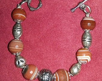 Red striped agate bracelet