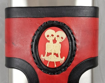 Red Leather Flask Holder with Black Accents and Conjoined Twin Skeleton Cameo