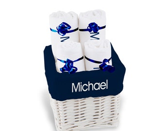 Personalized Baby Gift Basket, Baby Boy Gift Basket - 4 Burp Cloths - Small(B)