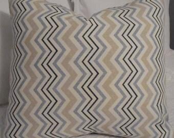 Chevron multi color pillow cover. Dark Blue,Light Blue, Beige. Burnt orange, blue, charcoal. Product ID# P0139,0004