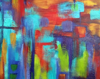 Modern Abstract Acrylic Painting on Canvas - Turquoise, Indigo, Orange, Green, & Red