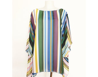 STRIPED SUMMER PONCHO Caftan Blouse Light Shirt for a woman For every occasion One size Oversize xl Summer