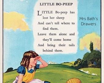 Vintage Childrens Illustration, Little Bo Peep, 1940s, childrens book picture, Digital Print, Instant Digital Download