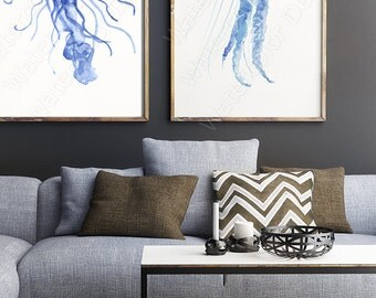 Jellyfish Watercolor Art Prints - Set of 2 Jellyfish Giclee Wall Decor Housewarming Gift Wall Decor