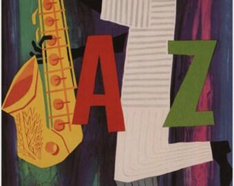 PHILIPS For Jazz Poster C Van Velsen Netherlands 1955-1956 Vintage Ad 24x36
