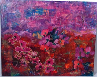 Paradise Reframed Original Floral Acrylic Painting with Collage