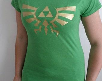 Legend of Zelda Hyrule gold print women's short sleeve geek and gamer T-shirt
