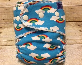 Cloth Diaper, Petite/Medium Hybrid Fitted Diaper, Rainbows on Blue with Wind Pro, Baby Cloth Diaper