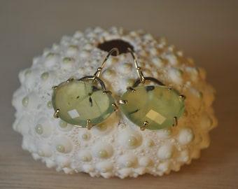 14k Prehnite Earrings