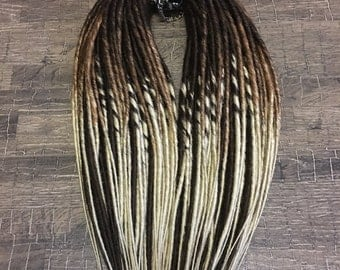 x10 or FULL SET double ended synthetic dreadlocks OMBRE brown to blond dreads hair extension 20 inches boho goth