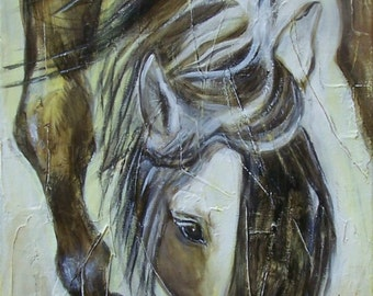 Painting on canvas, gray horse, 60cmx30cm