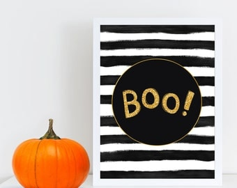 Boo Halloween wall print, Printable wall art, Halloween wall decor, Halloween Party Printable, Glitter, Stripes, Black & White, Quote decor