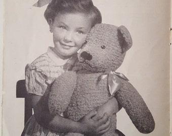 Vintage Teddy Bear Knitting Pattern, Vintage Toy Pattern