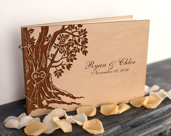 Rustic Wedding Guest Book, Wood Custom Wedding Guest Book, Tree, Bridal Shower Guest Book, wedding guestbook, gift for couple, Anniversary