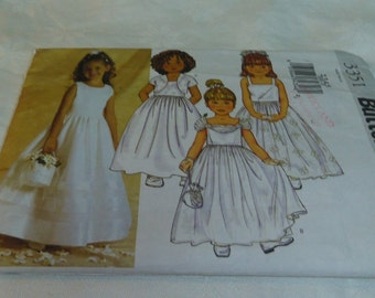 Child's Dress and Bolero Jacket, Wedding, Flower Girl, Party, Size 6, 7, 8, Uncut Pattern, Butterick 3351