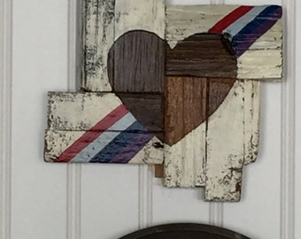 Small Rustic Rainbow Hearts
