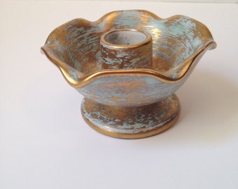 Vintage Midcentury Sea Foam Green and Gold Stangl Candle Holder