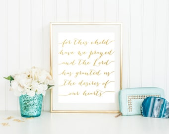 For This Child Have I Prayed Printable, Bible Verse Nursery Decor, Gold Nursery Print, Gold Nursery Art, Gold Wall Decor, Nursery Quote Art