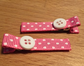 Hair clips - pink, white, dots, button - baby girl, child