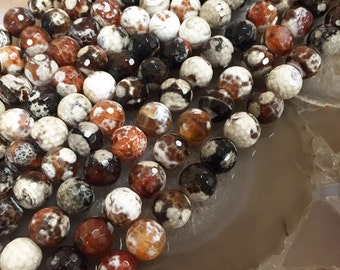 Fire Agate Faceted Round Loose Beads Size 12mm 15.5'' Long Per Strand R-F-AGA-0065