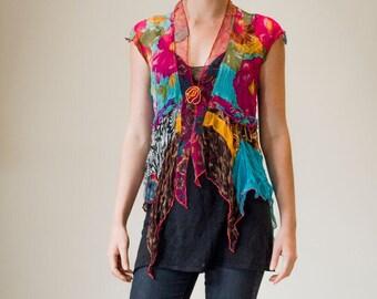 Patchwork rayon silk chiffon jacket/top, boho chic top, gypsy jacket, boho clothing, gypsy clothing // one off // handmade