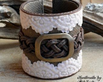 Boho bracelet Boho cuff Boho jewelry Country bracelet Country cuff Rustic bracelet Rustic cuff Lace bracelet Polymer clay jewelry for women