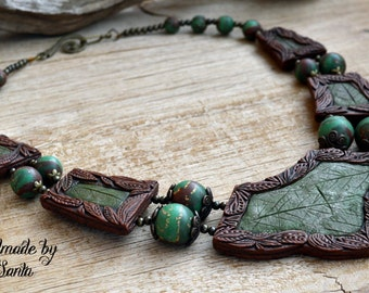 Green necklace Brown necklace Leaf necklace Statement necklace Elven necklace Beaded necklace Bib necklace Polymer clay jewelry for women