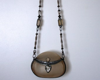 Vintage MAYA Resin Purse with Beaded Strap