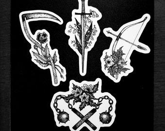 Battle Blooms Mini Sticker Pack - Original Art Stickers - Medieval Weapons & Poisonous Flowers