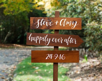 Rustic Wedding Directional Signs. Personalised Bride and Groom Happily Ever After Signs.