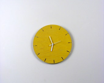 Laser cut plywood wall mounted clock mid century modernist contemporary clock