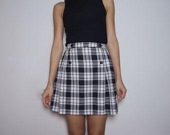 Vintage Black and White Check Mini Skirt
