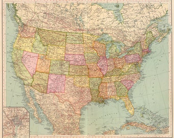 Old map of United States of America map Digital download - Vintage Art Image - Instant Digital Download.PRINTABLE map.US map wall decor.