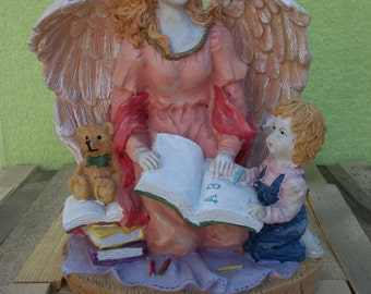 Angel Statue Large// Nursery Decor// Baptism Gift//Sunday School// Guardian Angel with Child// Religious Children Statue//School Decor//