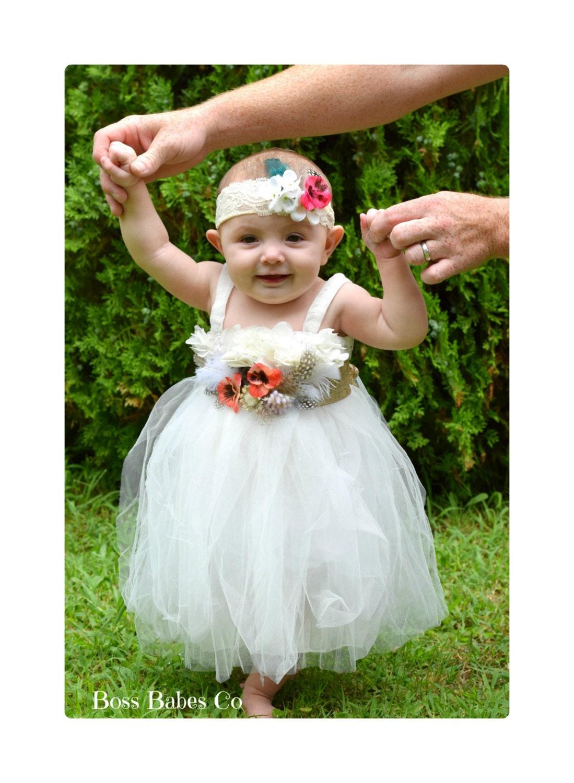 White baby girl dress Flower girl dress hippie chic Boho