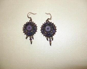 Earrings.  Bead Embroidery around Vintage Acrylic Heishi