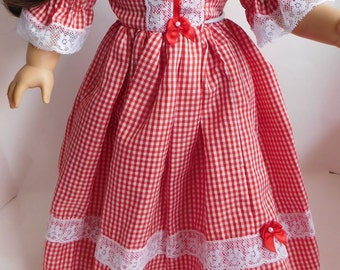 OOAK Dress  18 Inch Doll  Handmade in USA Old Fashioned Gingham Unique