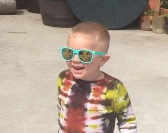 Little Rebel- striped tie dye toddler thermal