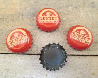 Sunset Sarsaparilla Bottle Cap Magnets, Fallout Fan Craft, SET OF 4