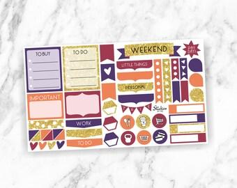 Burlesque Weekly Sampler / Sticker Set / Sticker Kit / Weekly Kit for use with Erin Condren LifePlanner™ / Gold Glitter Stickers   KA1