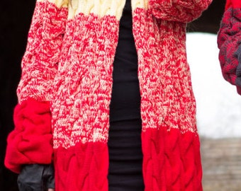 Cardigan Oversized Knitted Cardigan Striped long cardigan Bohemian kimono cardigan Wool knit coat Woman knit coat Winter knit jacket cardiga
