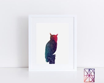 owl watercolor print, owl art work, watercolor owl, owl poster, owl artwork, owl wall art, owl wall decor for kids, owl print, owl art kids