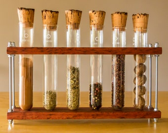 Wooden test tube spice rack: hand-made kitchen gift for the science-loving cook