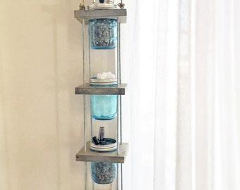 Hanging Mason Jar Planter or Storage, Light Grey Stain