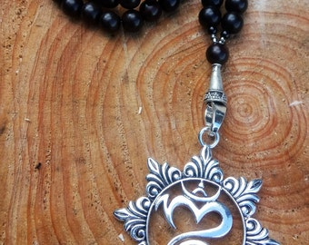 Natural Tiger Ebony Wooden Beaded Yoga Mala with Chakra Flower Pendant in Antique Silver Tone, Mala Beads, Yoga Jewellery, Gift for Her
